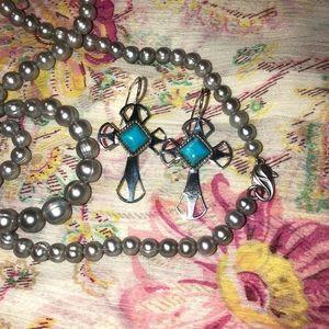 Jay King turquoise cross earrings